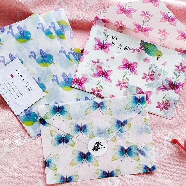 Creative animals birds butterflies flower Paper Envelope Translucent Envelope For Planner Organizer Wedding Letter Invitation