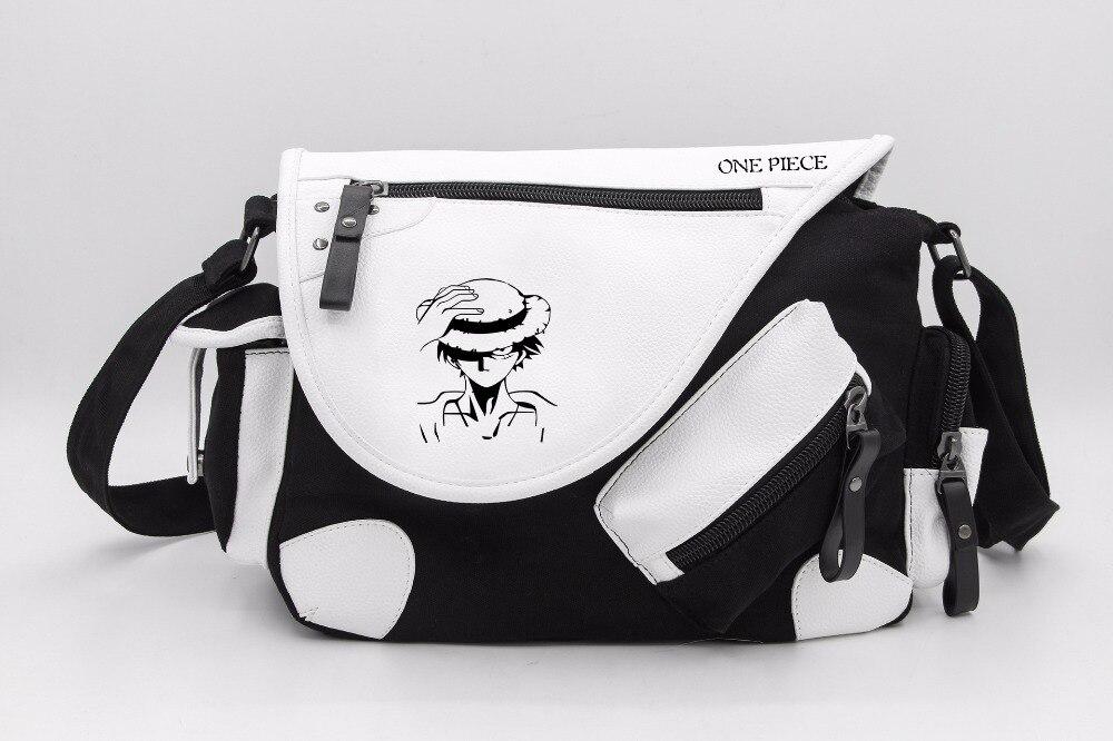 Japón Anime una pieza mono D Bolso de hombro Luffy de lona informal con cremallera para niños y niñas, bolsos cruzados, mochilas escolares, bolsa de mensajero, regalo