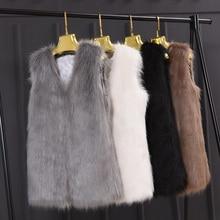 Fashion Fur Vest Coat Autumn Winter Faux Fur Sleeveless Slim Vest Women Fur Jackets Coat Outerwears Waistcoat Gilet Big Size