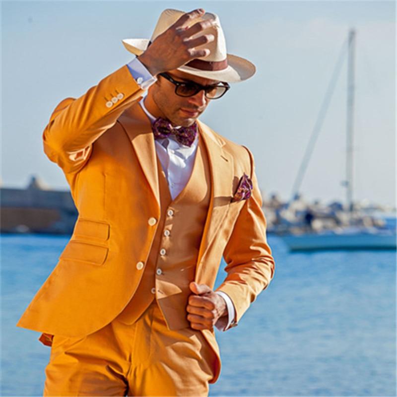 ¡Novedad! traje naranja De diseño novedoso De 3 piezas (+ corbata chaleco + chaqueta + pantalón), Trajes personalizados, Trajes formales De Hombre, chaqueta De esmoquin 703