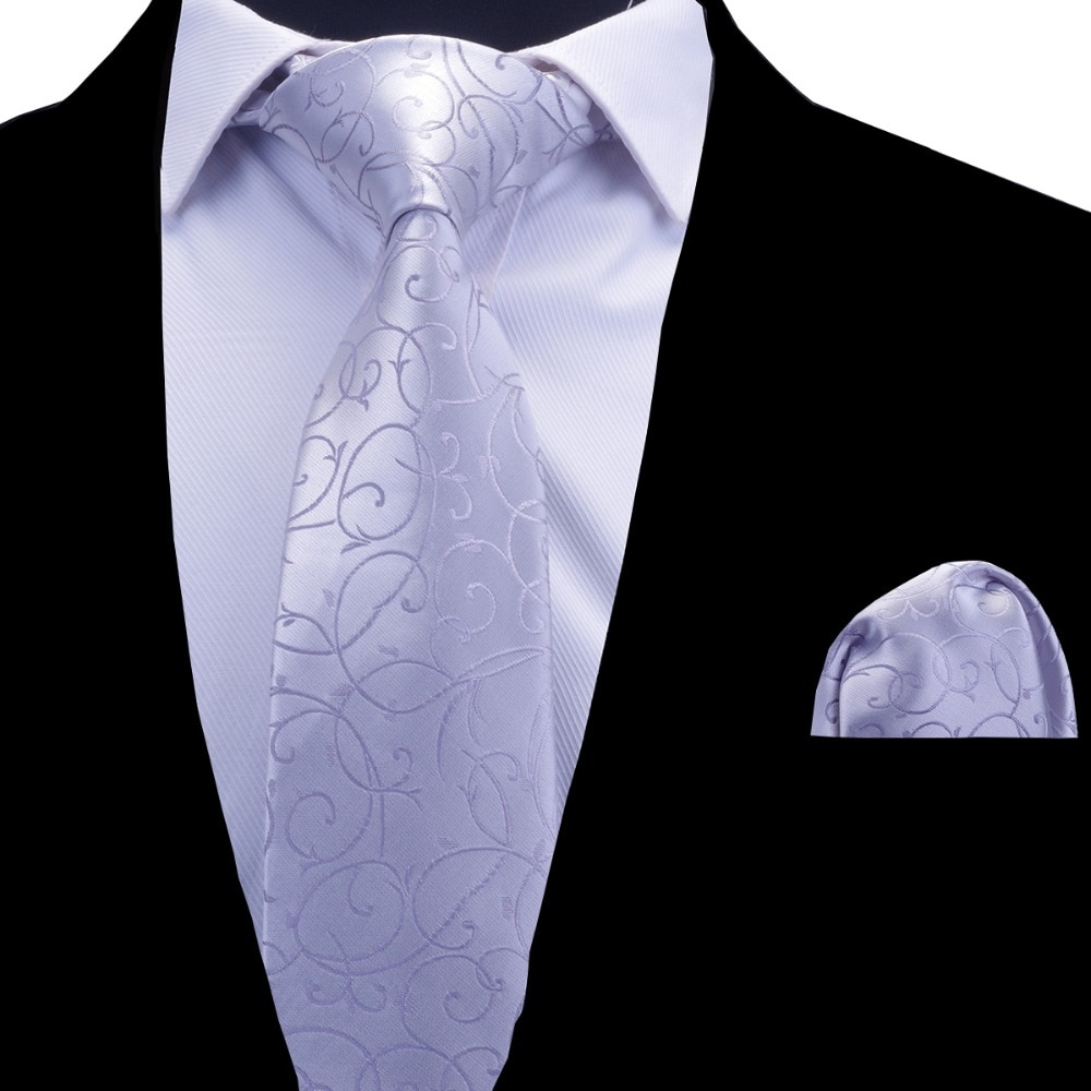 RBOCOTT Floral Ties Men's Tie Handkerchief Set Burgundy Red Blue Silvery Necktie 8cm Neck Tie Pocket Square Set For Men Wedding