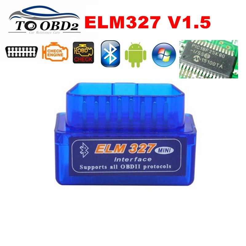 100% Firmware V1.5 PIC18F25K80 ELM327 Bluetooth V1.5 OBD2 Car Diagnostic Tool ELM 327 V1.5 Work On Android/Symbian BEST Quality
