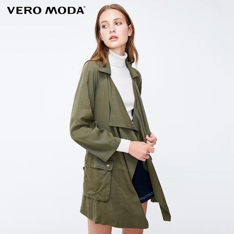 Vero Moda Women's Decorative Pocket Loose Fit Army Green Lapel Trench Coat   318317505