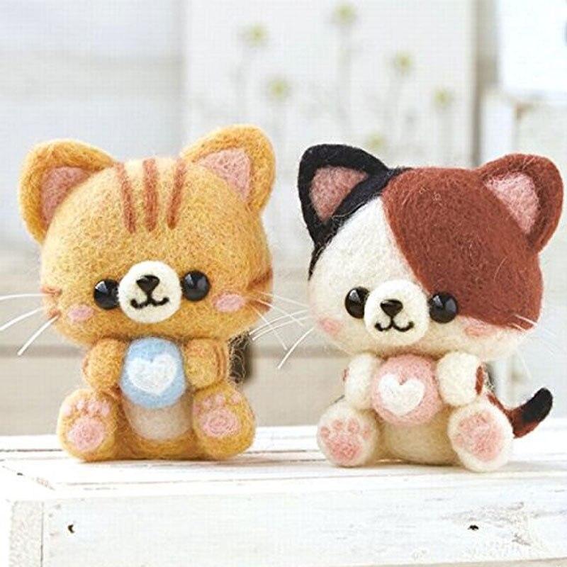 2019, bonito y creativo juguete de gato gatito, muñeca de lana, fieltro Poked Kitting, paquete de Material de fieltro de lana sin terminar