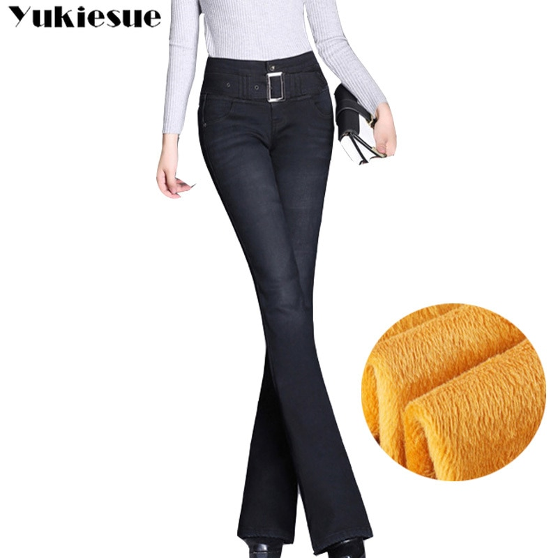 Winter warm fleece Stretching Flare Jeans Women Stretching Bell-Bottoms Jeans For Girls Trousers for