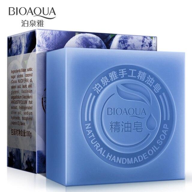 BIOAQUA, aceites esenciales naturales de arándanos, jabón hecho a mano, blanqueamiento, elimina el acné de la piel, limpieza de la suciedad, antienvejecimiento, cuidado de la piel para hombres/mujeres
