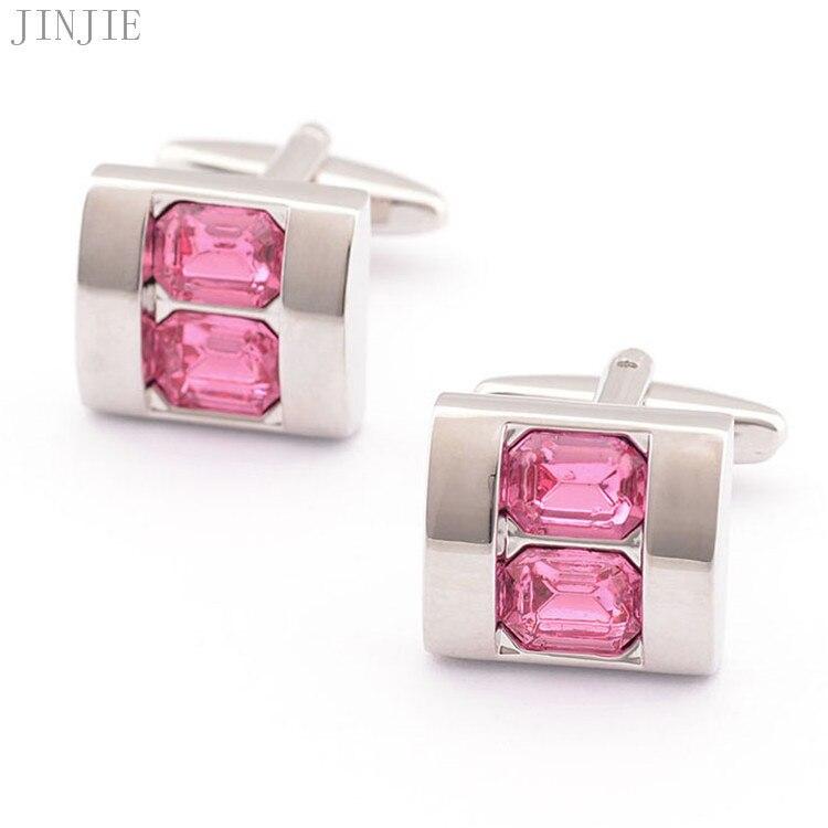 1 par de diamantes de imitación de cristal rosa para hombre camisa de plata dorada gemelos boda fiesta regalo joyería de lujo regalos hombres