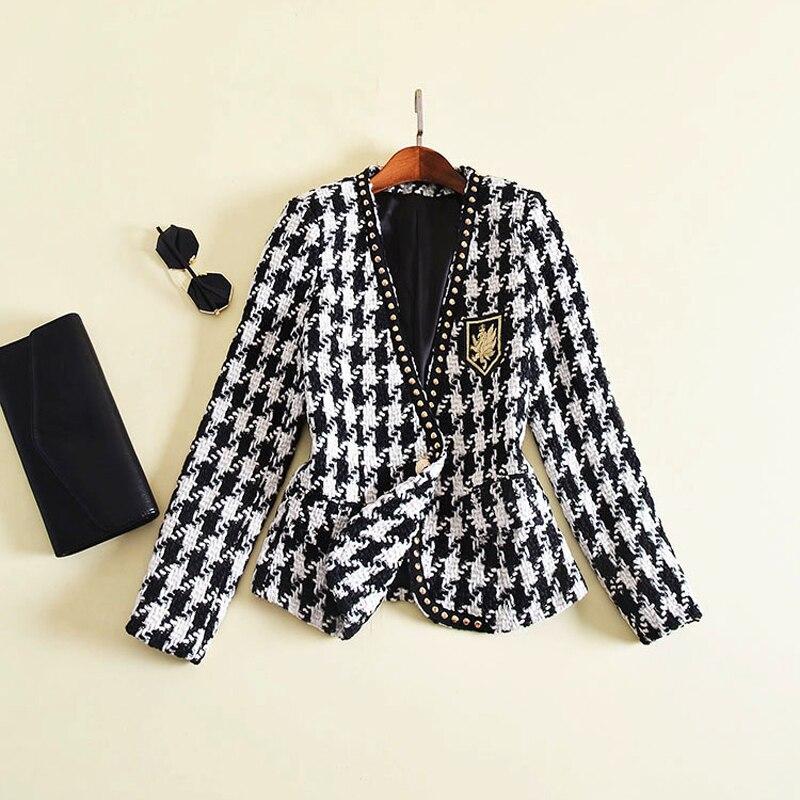 Nueva moda de pasarela 2020 chaqueta de diseñador de manga larga para mujer insignia bordado remache Houndstooth Tweed chaqueta abrigo exterior
