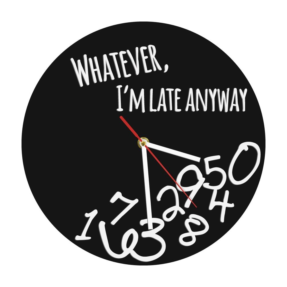 Все, что я опоздаю, в любом случае, современные настенные часы, независимо от вдохновляющих цитат с цифрами падения, настенные часы для домаш...