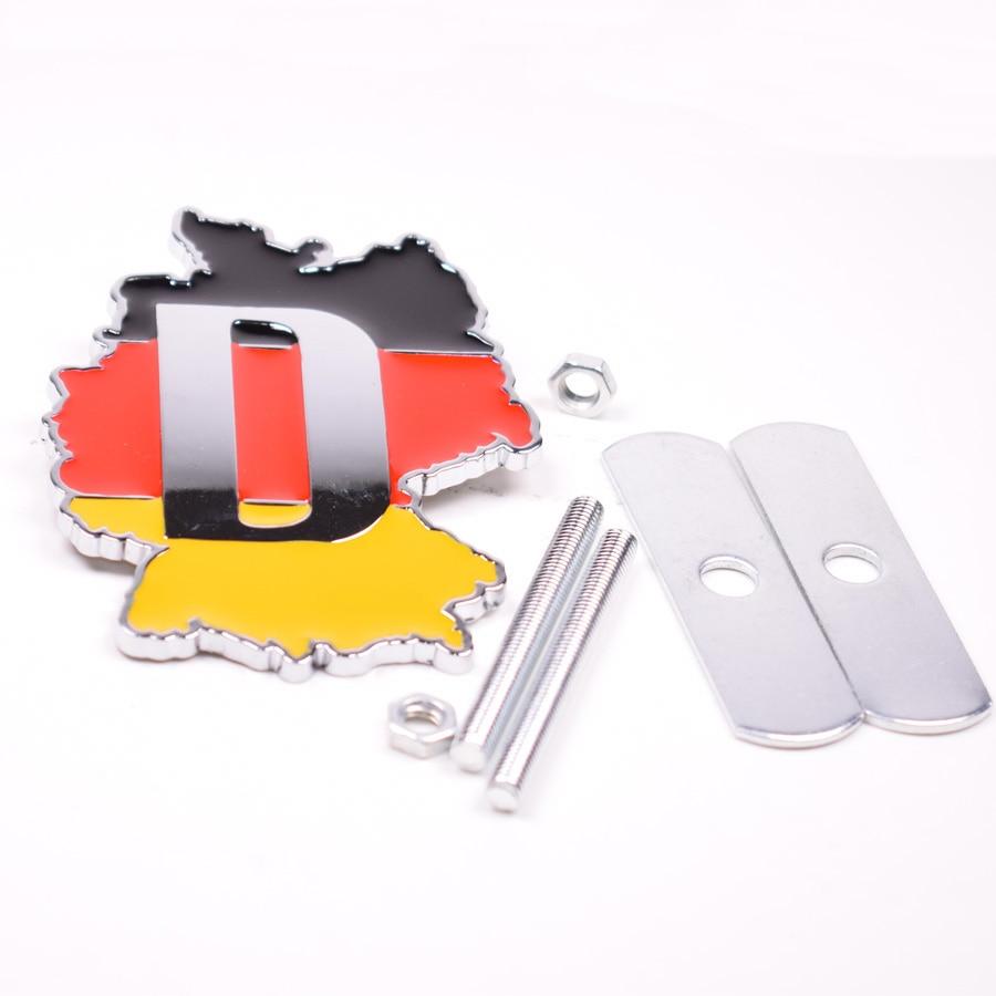 3D Metal Germany Flag Emblem Front Hood Grill Grille Badge For Audi Mercedes for porsche BMW Volkswagen etc Car Styling