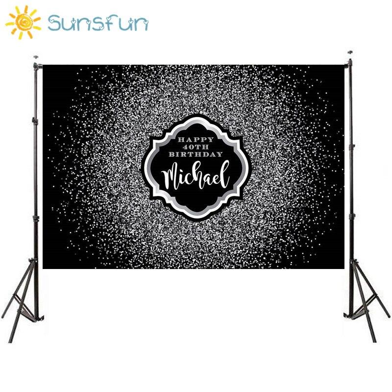 Sunsfun 7x5ft negro plateado Bokeh fiesta boda fondo de fantasía Props alta calidad cumpleaños Banner Fondo marco personalizado