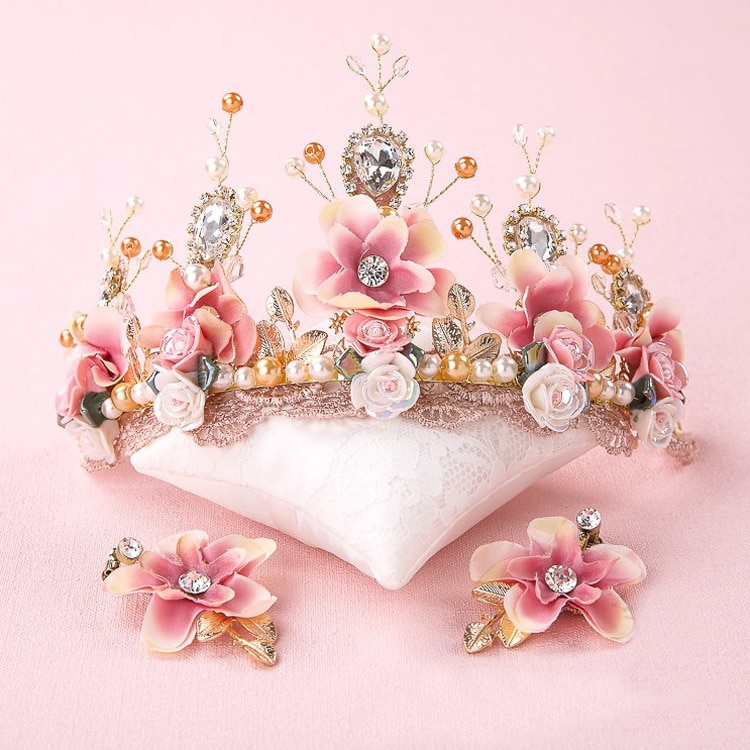 Tiara de encaje con cuentas hecha a mano para novia, corona, tocados...