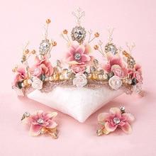 Doce rosa noiva artesanal frisado laço tiara coroa corone tocados para novias cerâmica flor cabelo cocar
