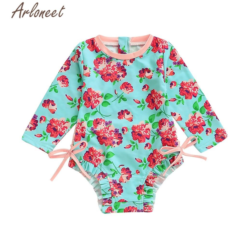 Ropa ARLONEET bebé traje niñas florales impresión de una pieza traje de baño 2019 playa de verano trajes de baño para niñas traje de baño
