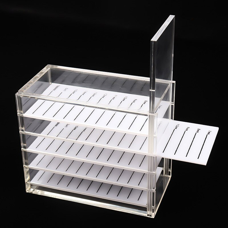 Caja de almacenamiento de pestañas 5 capas de maquillaje recipiente de exhibición pegamento de pestañas soporte para pallet Injerto de pestañas caja transparente