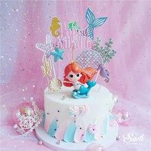 Ins coroa sereia decorações laser azul fishtail bolo topper para o dia das crianças fontes de festa aniversário sobremesa bonito presente