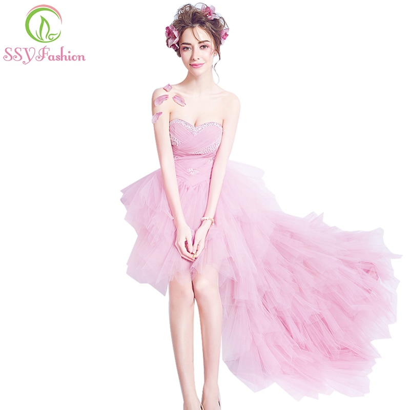 SSYFashion-فستان كوكتيل وردي بدون أكمام ، مثير ، بدون حمالات ، أمامي قصير ، ظهر طويل ، غير متماثل ، خرز ، حفلة ، مأدبة ، فستان رسمي