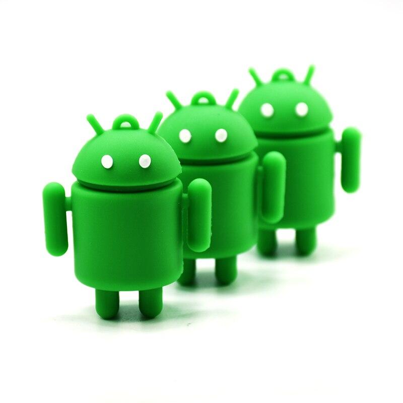 robot usb flash drive 4GB 8GB 16GB 32GB 64G  cartoon android pen drive green U Disk  memory stick machine pendrive