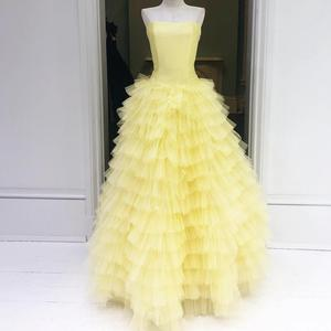 Light Yellow vestidos de 15 años 2019 Puffy Ruffles Quinceanera Dress Strapless Sweet 15 Dress beauty and the beast Prom Gowns