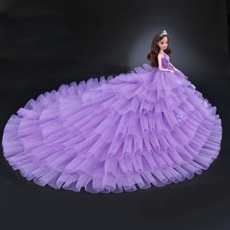 Одежда для кукол NK 2020, модное платье ручной работы с длинным хвостом для свадебной вечеринки, аксессуары для кукол Барби, 111 JJ