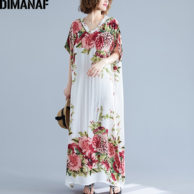 DIMANAF Plus Size Women Dress Summer Vestidos Beach Print Floral Sundress Big Size Female Lady Loose Cotton Maxi Long Dress 6XL