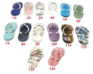 New Natural Stone Flip Flop Pendants Slipper Necklace Pendants DIY Necklace Flat Bead 14 Styles Fashion Necklace Pendant FSB1