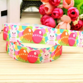 DHK 7/8'' 5yards easter printed grosgrain ribbon headwear hair bow diy party decoration OEM Wholesale 22mm C968