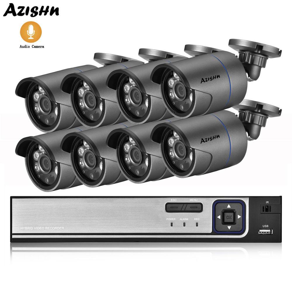 AZISHN 8CH 4MP POE NVR CCTV система безопасности 4MP HD наружная Водонепроницаемая аудио запись IP камера Onvif P2P домашняя система видеонаблюдения