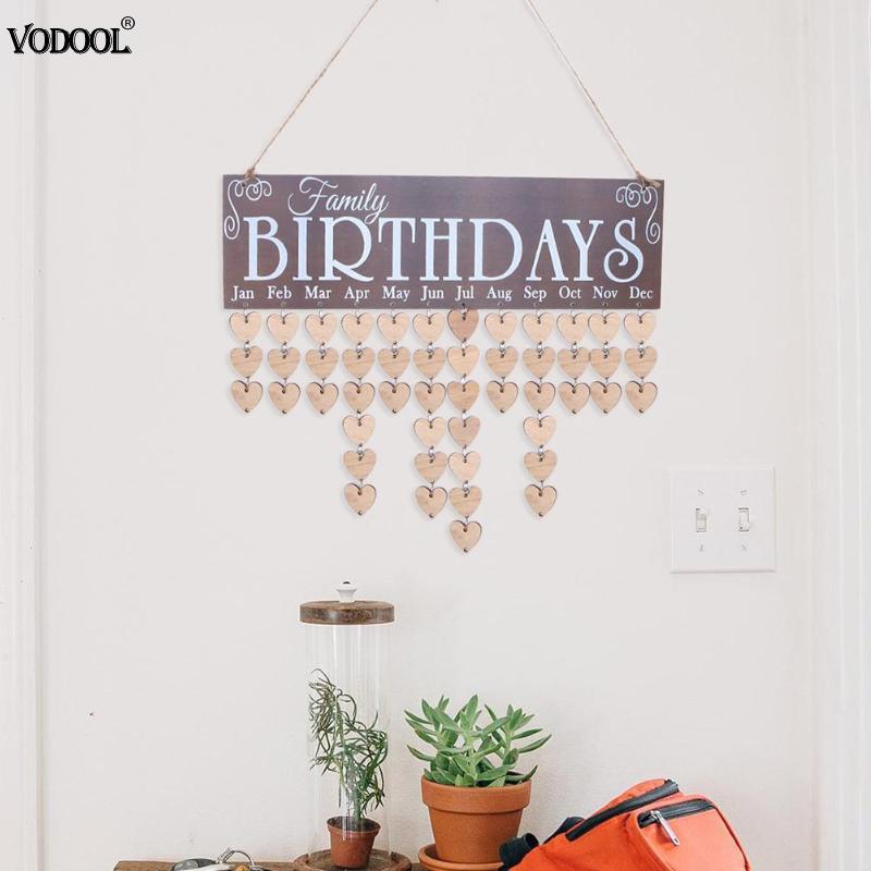 Tablero de calendario de madera, signo de fecha de Amigos de la familia, marcador de cumpleaños, planificador de fecha, accesorios de decoración para colgar en la pared del hogar