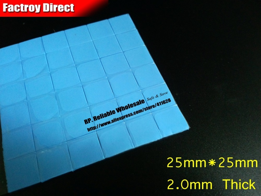 Großhandel! 600x 2,5 cm * 2,5 cm * 2,0mm Dicke GPU Thermotransfer Kühlkörper Silikon Pad für Viele Marken Notebook reparatur Test