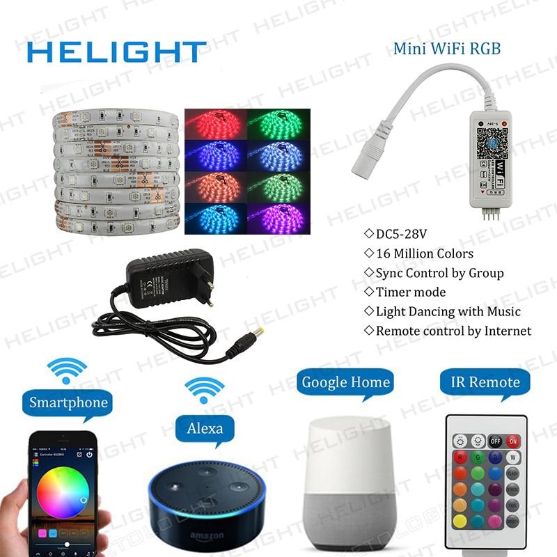 DC12V 5M 150LED 5050 RGB tira + WIFI RGB controlador de música Syc control por Amazon Alexa Google hogar teléfono inteligente + conjunto de potencia completa