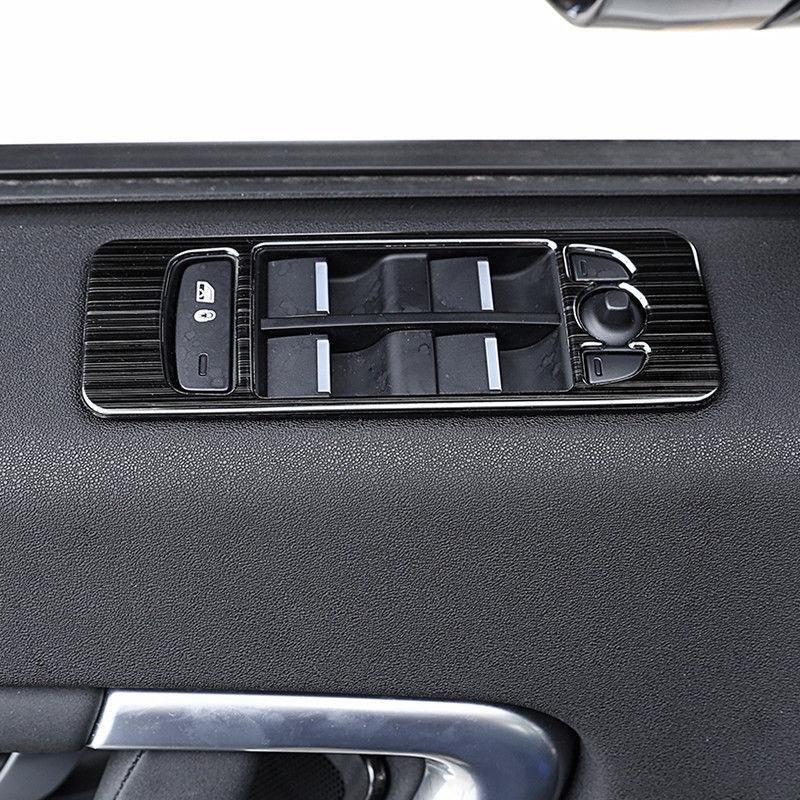 4 Uds. Marco de botón de interruptor de elevación de ventana cepillado negro de acero para Discovery Sport 2015-2017 estilo de coche