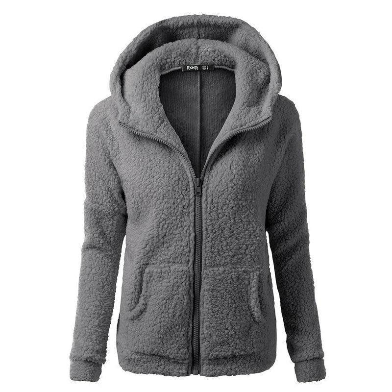 Cárdigan extragrande Sherpa 2019 de lana de imitación de piel de talla grande 5XL con capucha para mujer