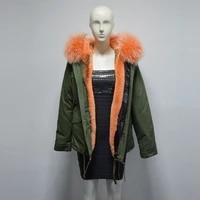 new design orange color women style winter fur parka big raccoon fur collar fur jacket