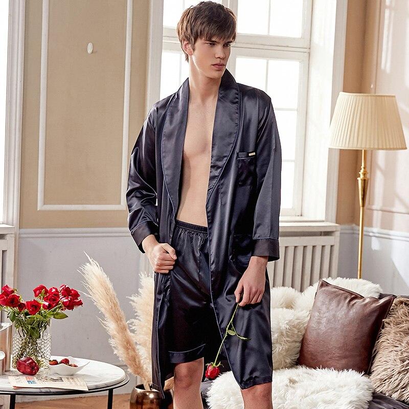 Шелк халат комплекты мужской высокое качество искусственный шелк одежда для сна мужской однотонный цвет шелковистый халаты шорты комплекты 2 предмета X28240