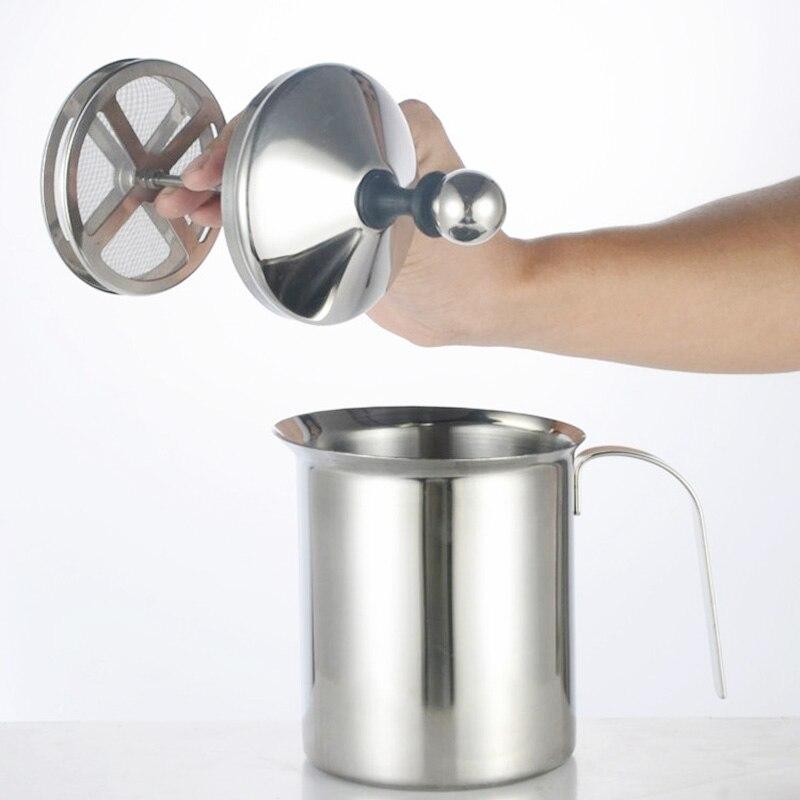 مزبد حليب من الفولاذ المقاوم للصدأ 400/800 مللي, مزبد حليب بشبكة مزدوجة لأدوات المطبخ للكابتشينو واللاتيه