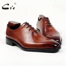 cie square toe bespoke custom handmade pure genuine calf leather outsole men's dress oxford color deep brown shoe flats OX408