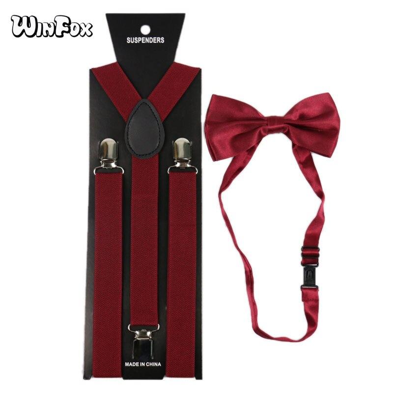 Winfox Burgundy Red Homem Suspensórios Gravata Borboleta Definir Homens das Mulheres Elastic Suspensórios 2.5 centímetros de Largura Suspensórios Camisa Gravata borboleta