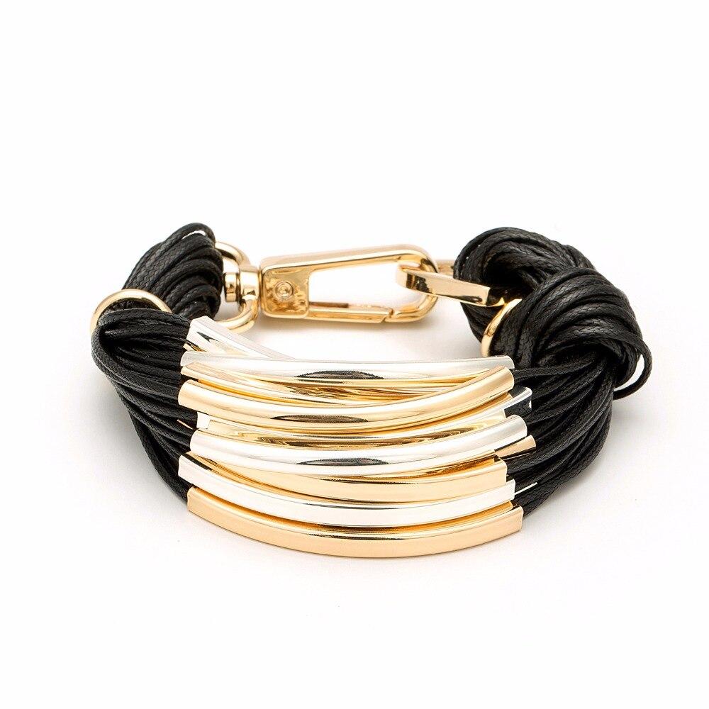 Multilayer Gold Color Metal With Black Wax Line Bracelet Office/career Bracelets For Women Bileklik Pulseira Feminina
