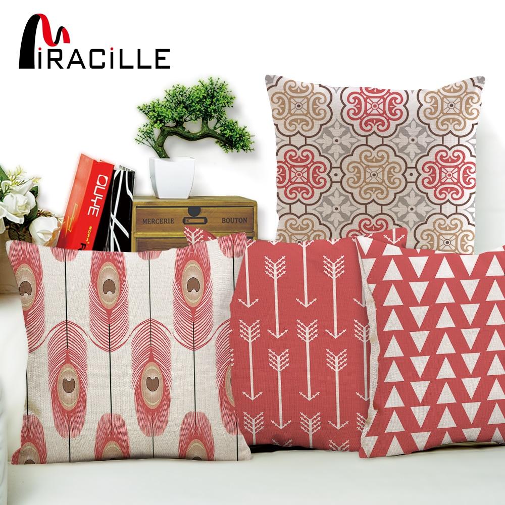 Льняная, хлопковая, розовая, с геометрическими узорами, для домашнего декора, дивана, подушка с перьями павлина, без наполнения