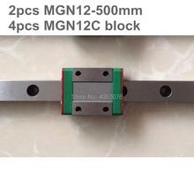 Linear guide MGN12 miniature linear rail slide 2pcs MGN12- 500mm linear rail guide +4pcs MGN12C carriage for cnc parts