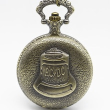 Bronze Pocketwatch Vintage ACDC Hells Bell Theme Quartz Pocket Watch Necklace Pendant For Men Childr