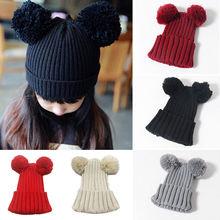 2017 bebé niñas invierno cálido sombrero de punto bola pompón niños niñas niño bolas de oreja sombreros de punto Accesorios