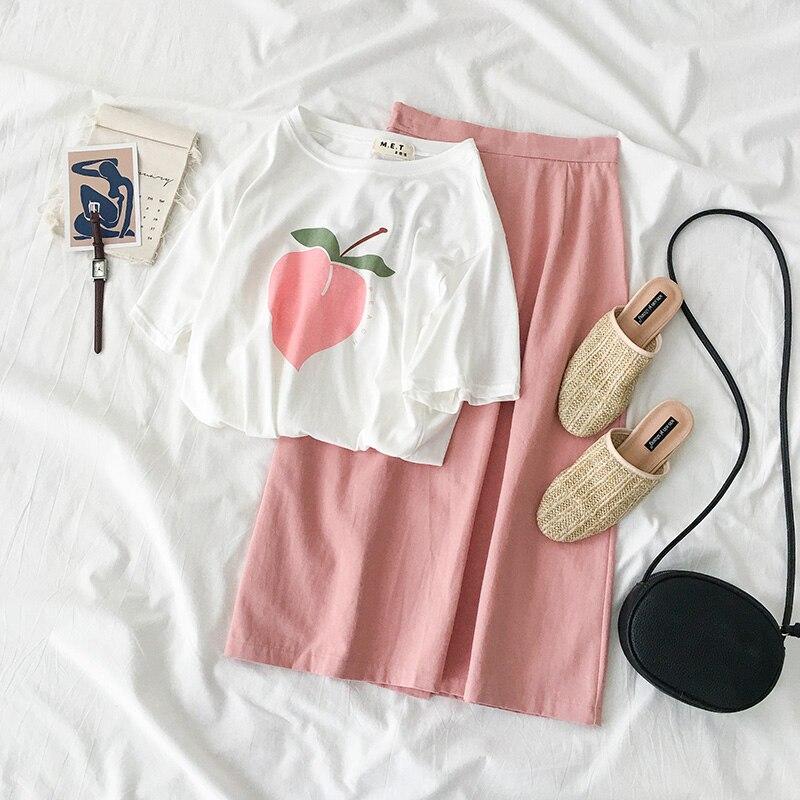 Peach Graphic Print T-shirt Women Summer Tops Short Sleeve Loose Style T-shirt Korean Fashion Casual Schoolgirl Streetwear