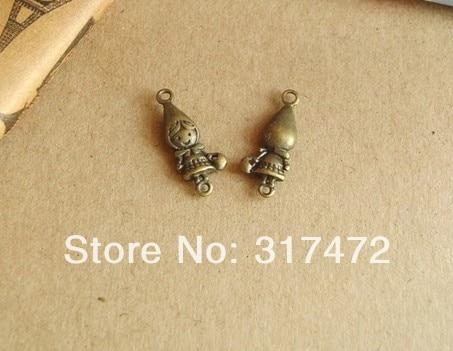 Free shipping!! Antique alloy accessories DIY retro pendant green bronze double orifice fittings bag, little girl