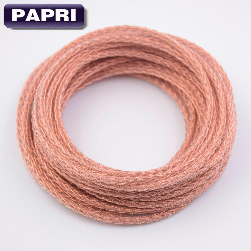 Papi-Cable de cobre para auriculares, 8 núcleos, Trenzado, PTFE, OCC, Audio HIFI,...