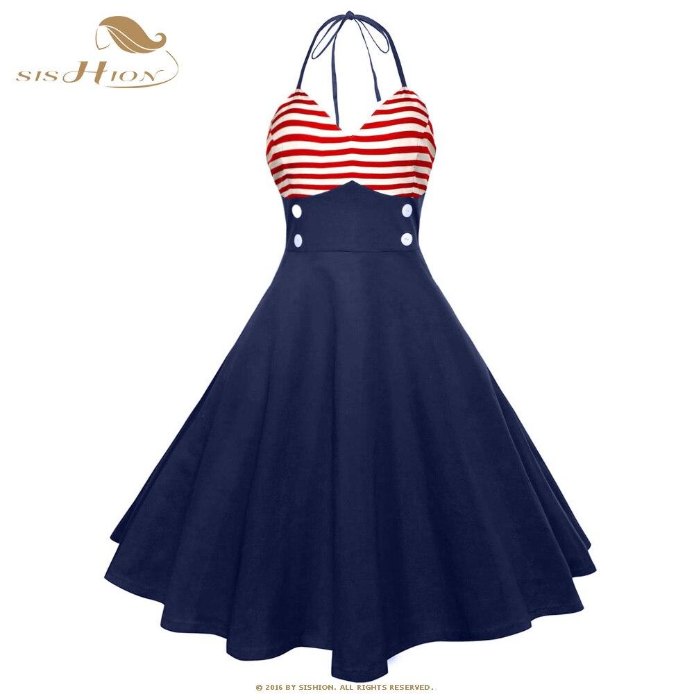 SISHION Vintage vestido retro pin up VD1078 azul oscuro mujeres Halter sin mangas Sexy bandera americana patrón estampado Swing vestido de verano