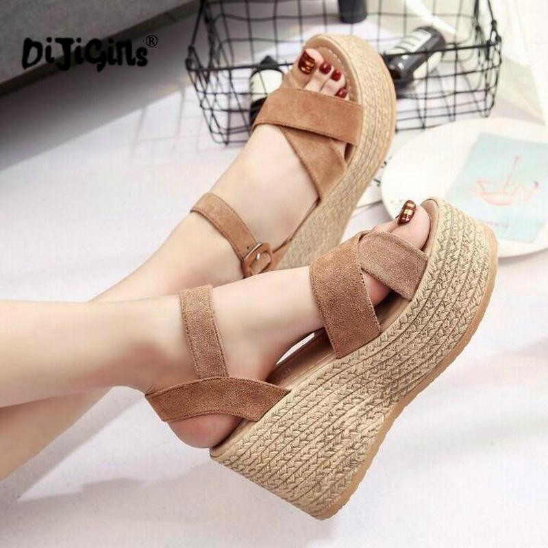 Sandalias de mujer con hebilla de verano aterciopeladas Boca de pescado tacón alto plataforma dedos abiertos sandalias de mujer caída de zapatos envío