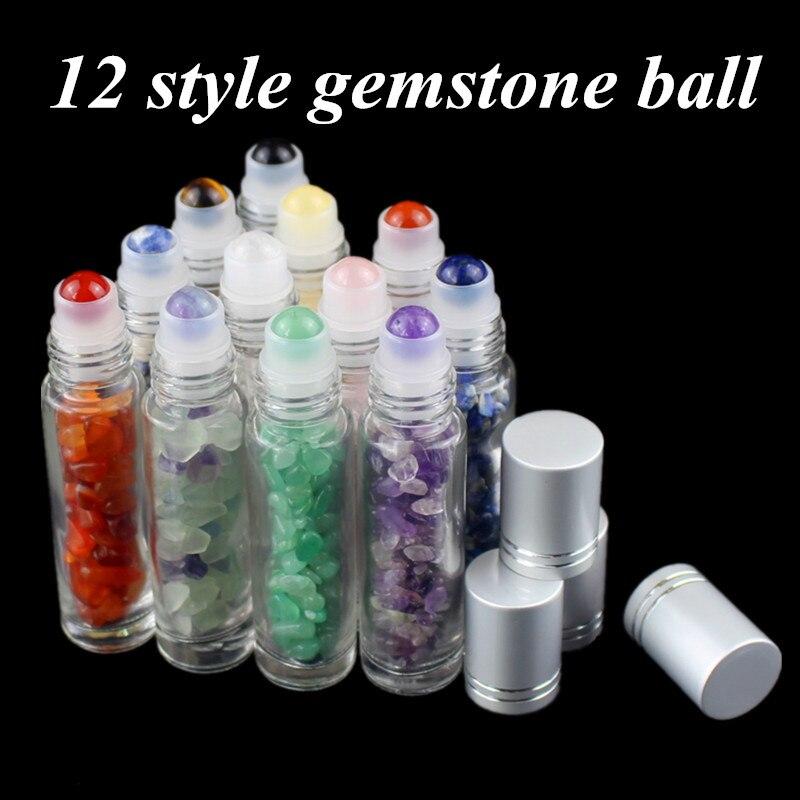 10 Uds. 12 Uds. 10ml de piedras preciosas naturales, aceite esencial, botellas de bolas de rodillo para Perfumes, líquidos de aceite, Roll On botellas con Chips de cristal