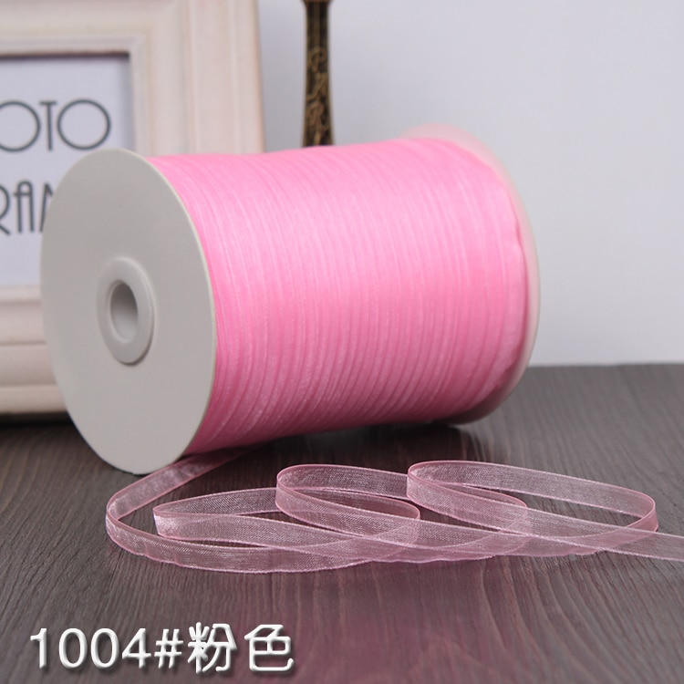Nuevo 1/4 (6mm) cinta de satén rosa de un solo rostro cinta de decoración regalo cintas de Navidad tejido de costura a mano DIY (10 metros/rollo)
